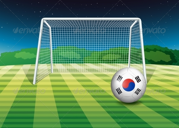 Ball on the field with the flag of South Korea