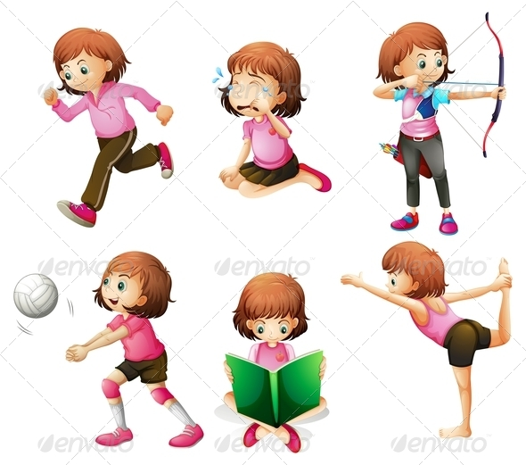GraphicRiver Girl in Six Poses 7854155