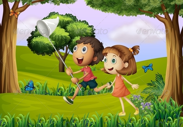 GraphicRiver Two kids playing in the forest with a net 7854156