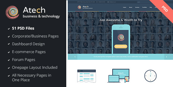 ThemeForest Atech Business & Technology PSD Template 7811179