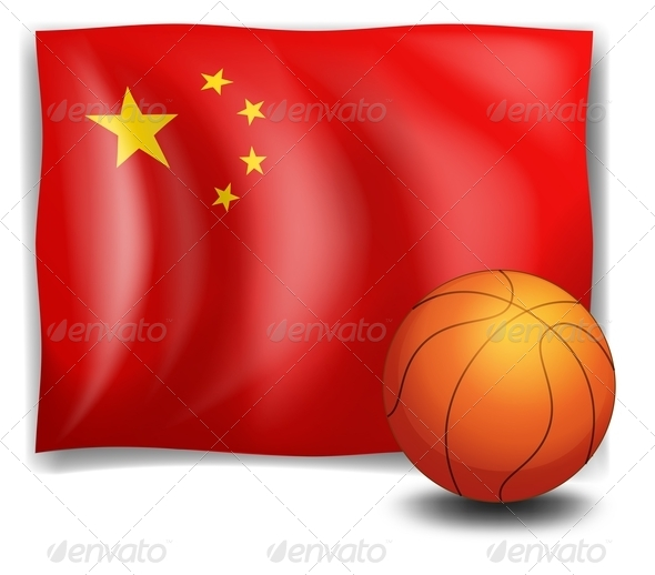 Basketball with Chinese flag