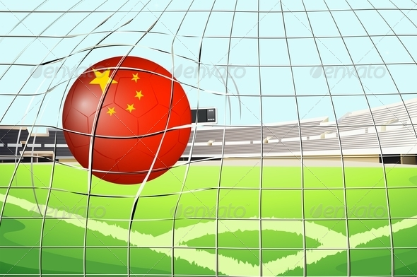 Soccer ball on field with the flag of China