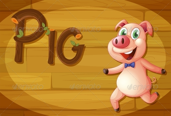 GraphicRiver Wooden frame with Pig 7854262