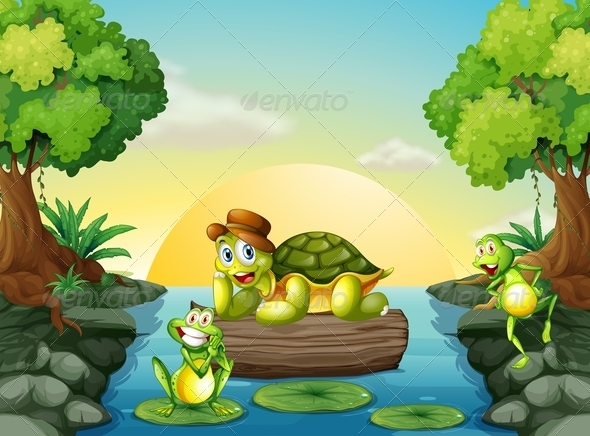 GraphicRiver Turtle and two frogs at the river 7854278
