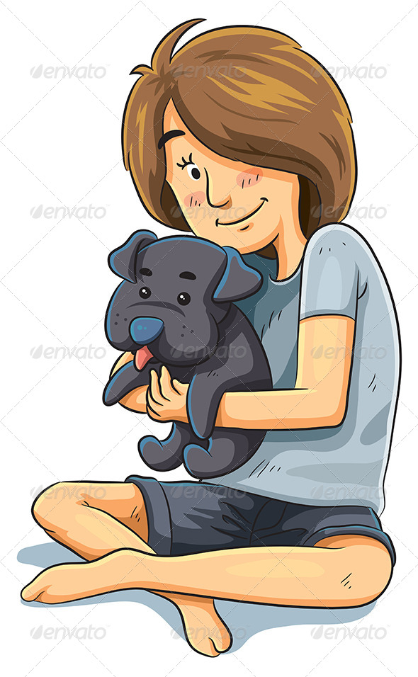GraphicRiver Girl with Puppy 7854317