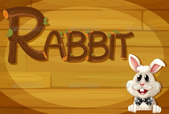 GraphicRiver Wooden frame with Rabbit 7854338