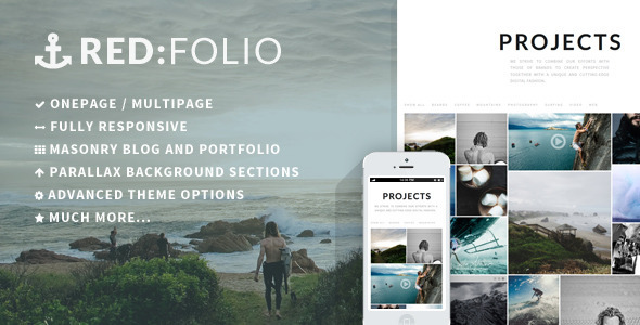 Redfolio a Responsive OnePage WordPress Theme