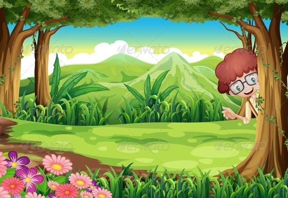 GraphicRiver Boy hiding behind tree 7854507