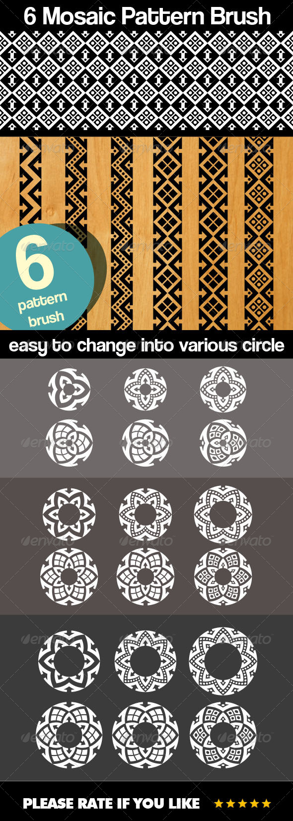 GraphicRiver 6 Mosaic Pattern Brush 7854582