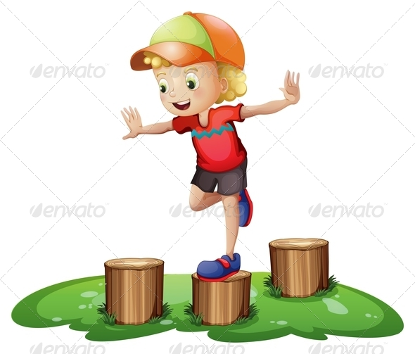 Boy playing on stumps