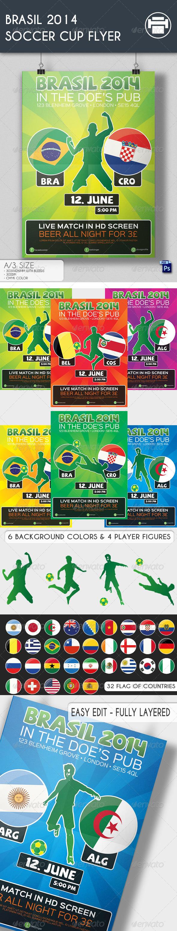 GraphicRiver Brasil 2014 Soccer Cup Flyer 7854702