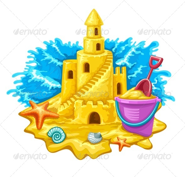 GraphicRiver Sand Castle with Childs Toys and Blue Waves 7854733