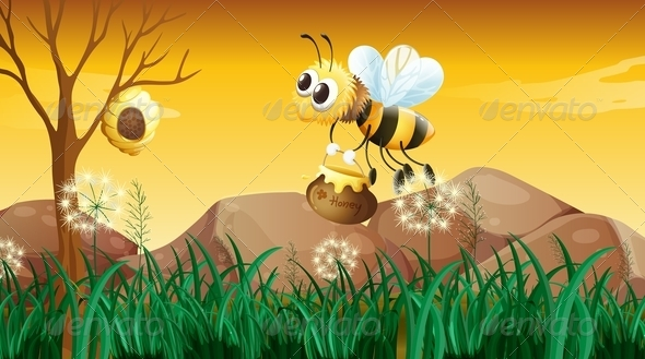 Bee going to the beehive