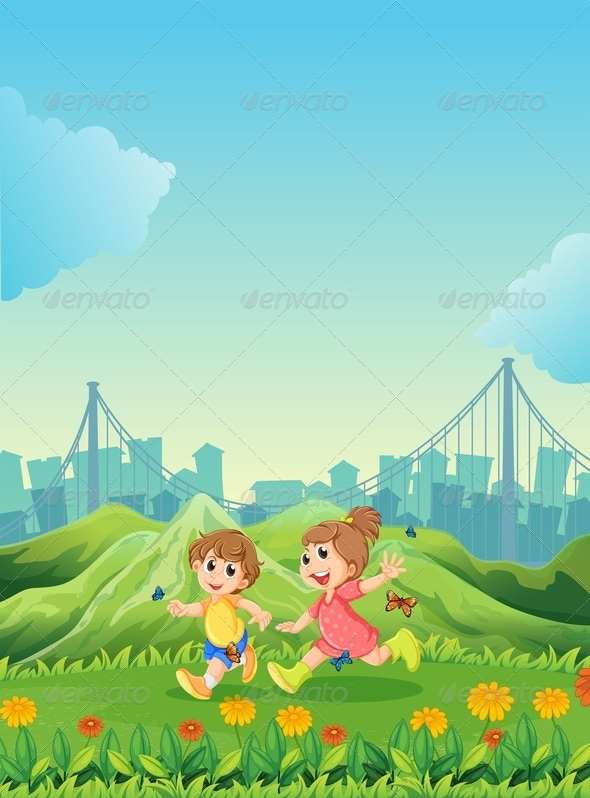 GraphicRiver Kids playing with butterflies 7854817