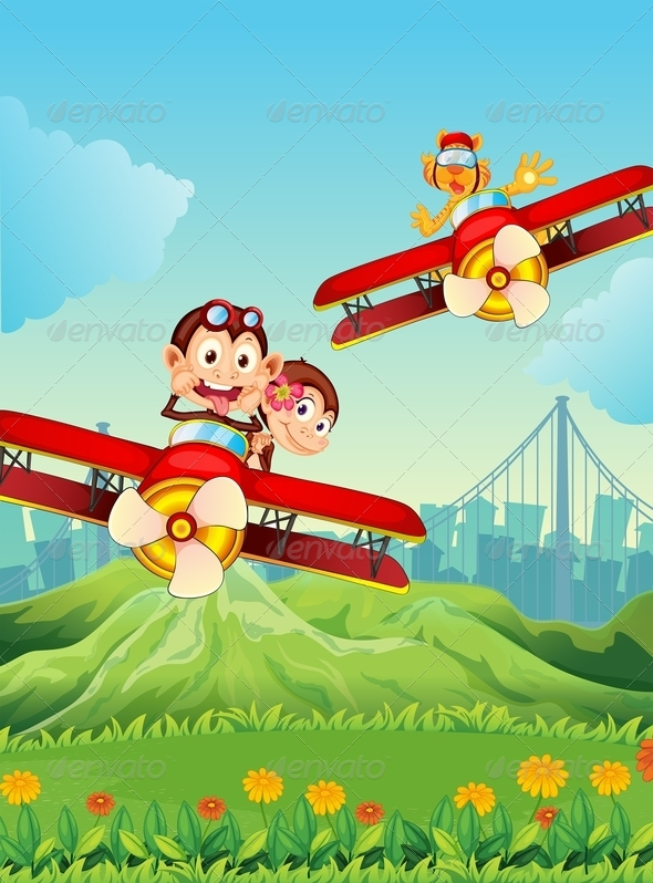 GraphicRiver Planes with playful animals 7854889