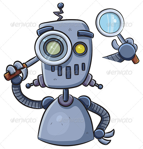 GraphicRiver Robot Using Magnifier 7854897