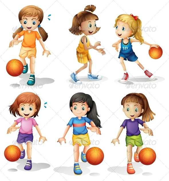 GraphicRiver Girls Playing Basketball 7854898