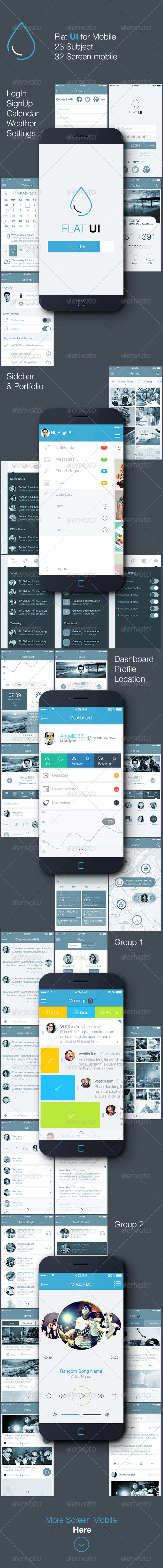 GraphicRiver Flat UI for Mobile 7855065