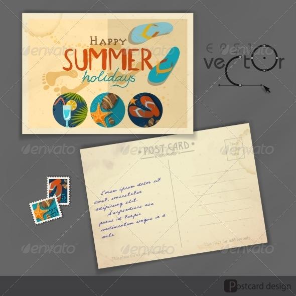 GraphicRiver Old Postcard Design Template 7855108