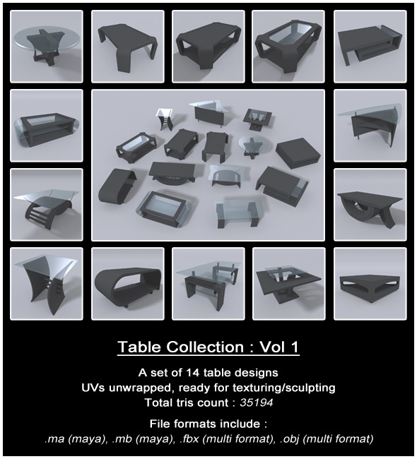 3DOcean Table Collection Vol 1 7855186