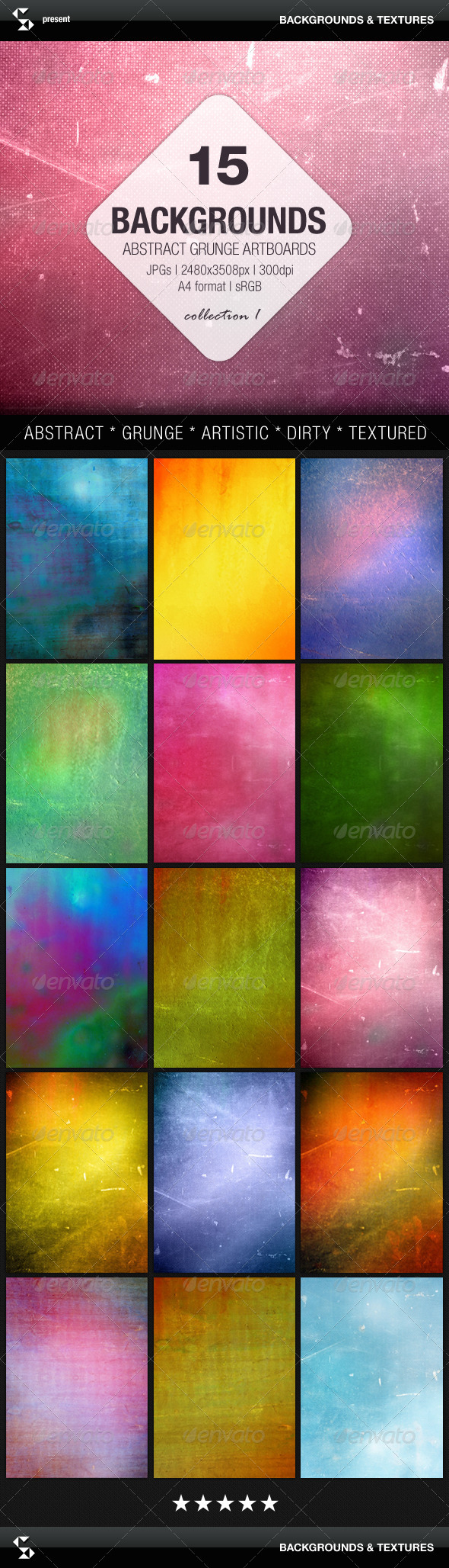 GraphicRiver Abstract Backgrounds 15 Grunge Artboards 7855192