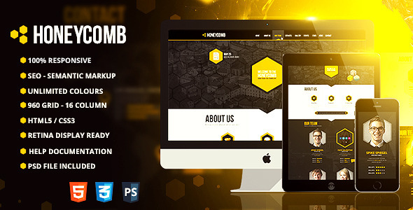 ThemeForest Honeycomb Responsive One Page HTML5 Template 7836843