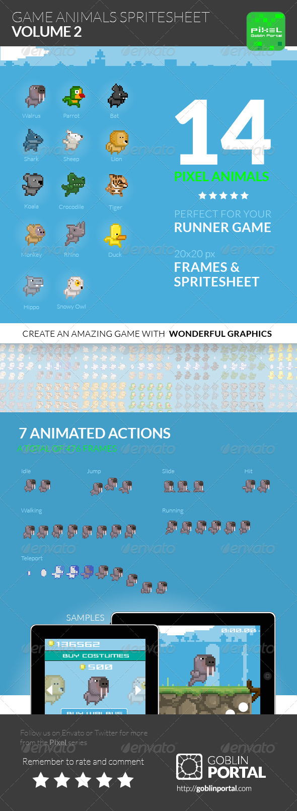 GraphicRiver Game Animals Spritesheet Volume 2 7855220