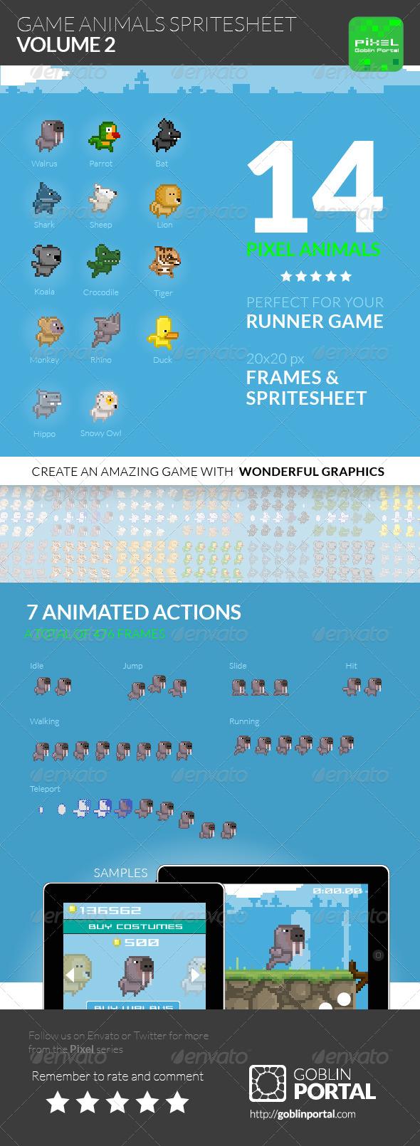 Game Animals Sprite Sheet Volume 2