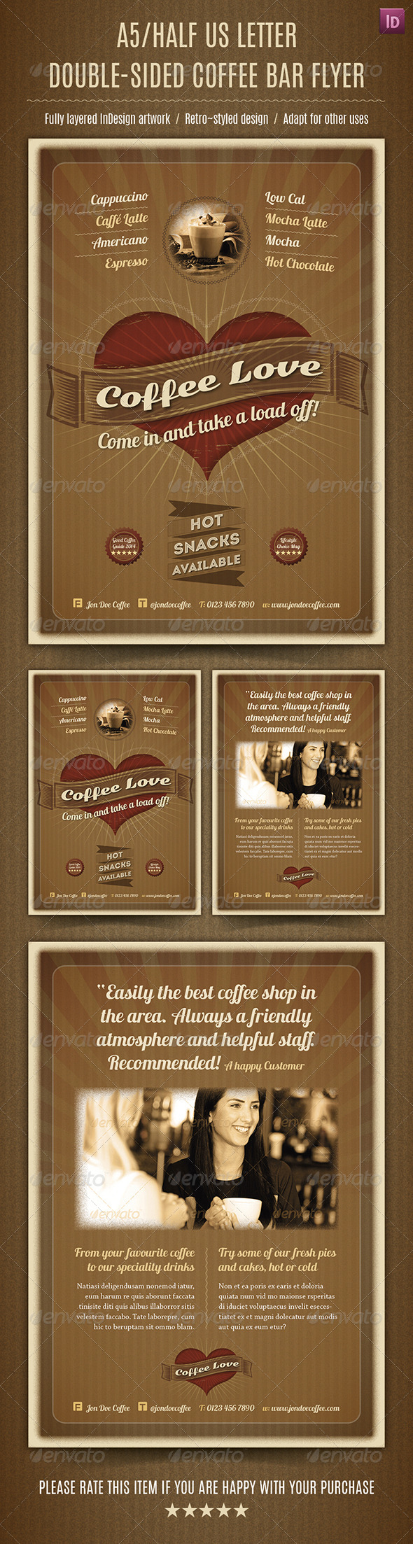 GraphicRiver A5 Half Letter Double-Sided Coffee Bar Flyer 7856784