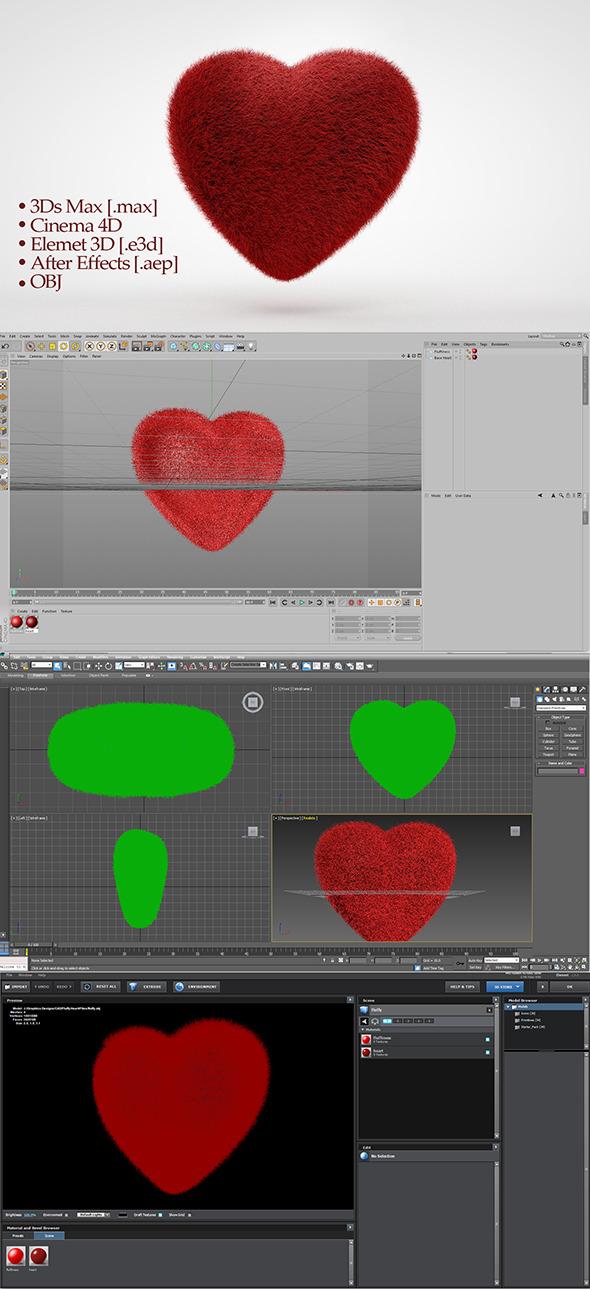 Fluffy Heart - 3DOcean Item for Sale