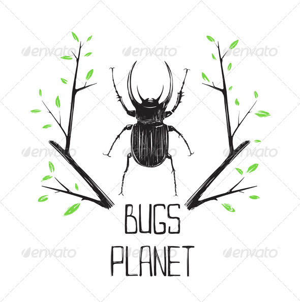 Big Black Beetle Insect and Nature Symbol