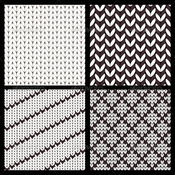 GraphicRiver Set of Four Seamless Knitting Patterns 7857619