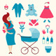 Pregnant Young Woman and Baby Clothes