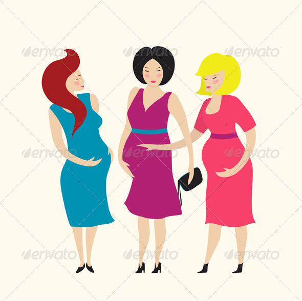GraphicRiver Three Pregnant Young Women Friends 7857673