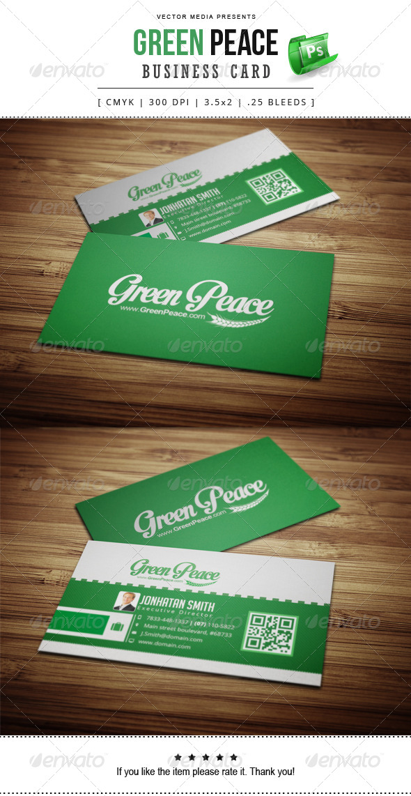 GraphicRiver Green Peace Business Card 7857690