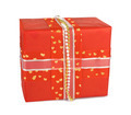 Holiday gift boxes decorated with bows and ribbons isolated on w