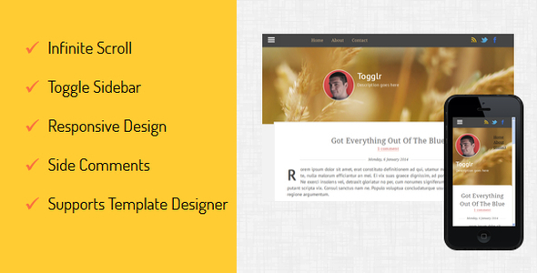 ThemeForest Togglr Clean Responsive Blogger Template 6658508