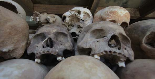 Skulls And Bones In Killing Field Cambodia