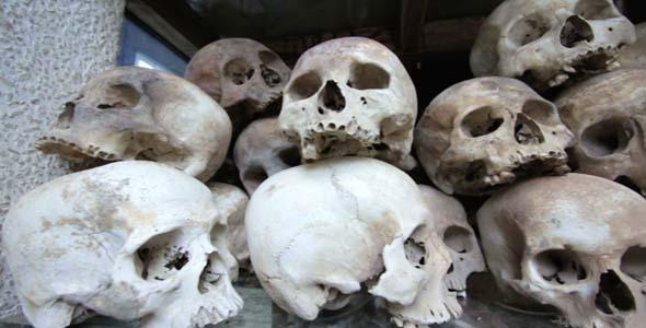 Skulls And Bones In Killing Field Cambodia Movin