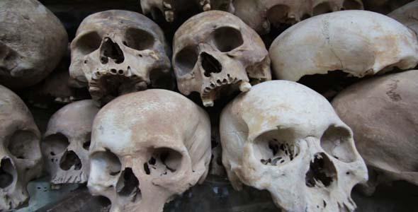 Skulls And Bones In Killing Field Cambodia