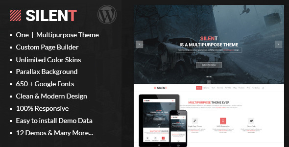 ThemeForest Silent One Page Multipurpose WordPress Theme 7803348