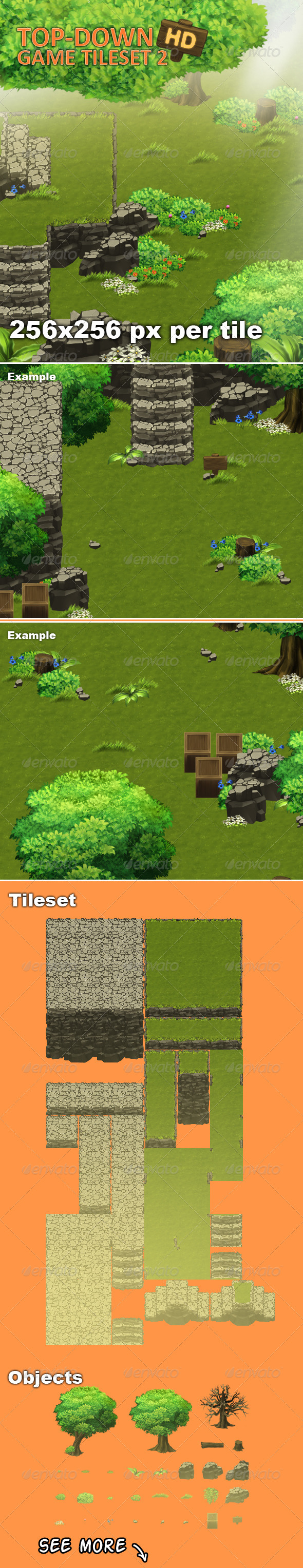 GraphicRiver Top-Down Game Tileset 2 HD 7858373