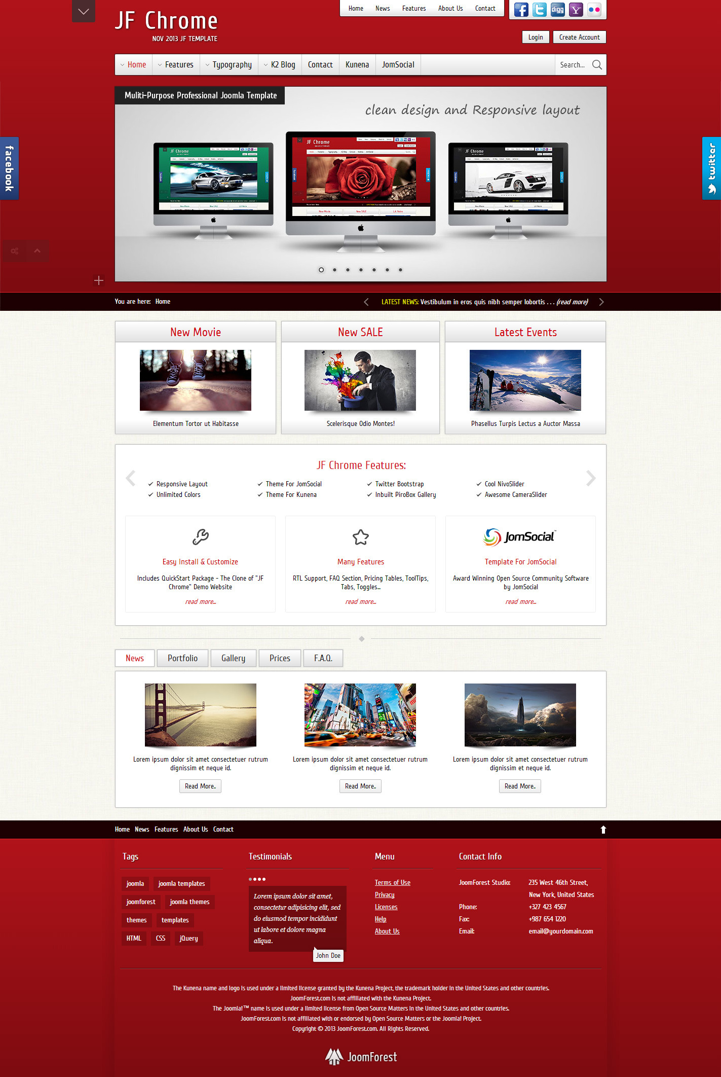 JF Chrome - Joomla Kunena JomSocial Template - JF Chrome - Red Skin