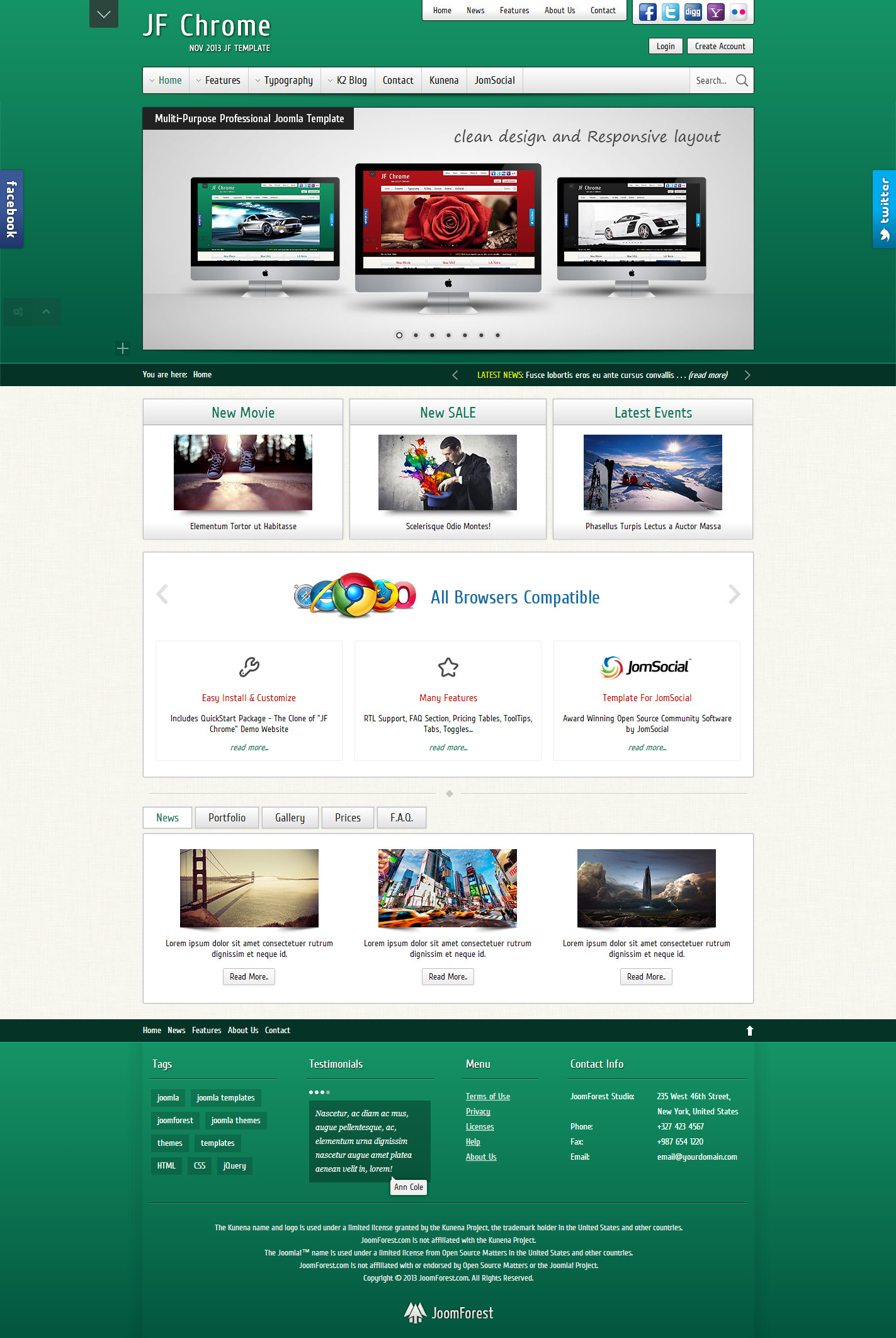 JF Chrome - Joomla Kunena JomSocial Template - JF Chrome - Green Skin