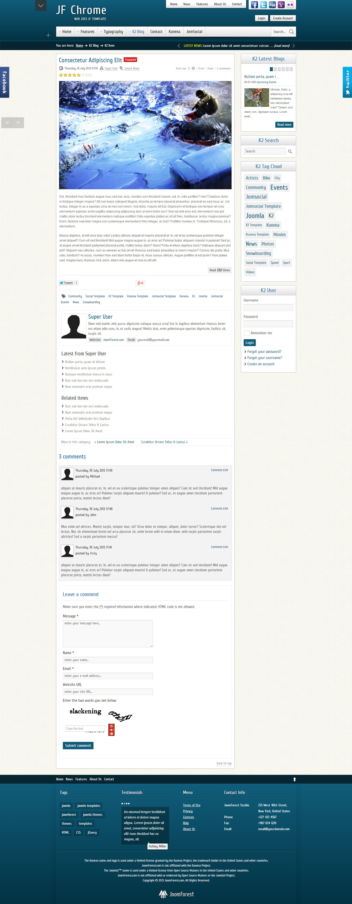 JF Chrome - Joomla Kunena JomSocial Template - JF Chrome - K2 Item