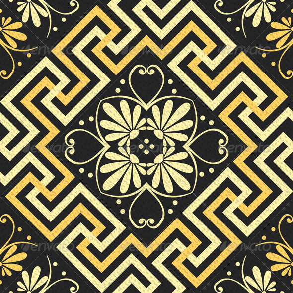 GraphicRiver Vector Seamless golden Greek ornament 7859248