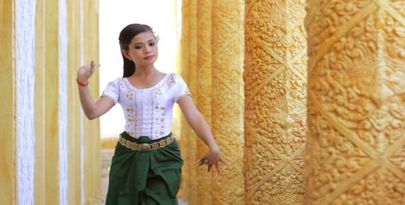 Beautiful Asian Girl Performs Cambodian Folk Dance