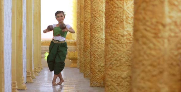 Beautiful Asian Girl Performs Coconut Folk Dance