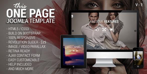 ThemeForest This One One Page Responsive Joomla Template 7823849