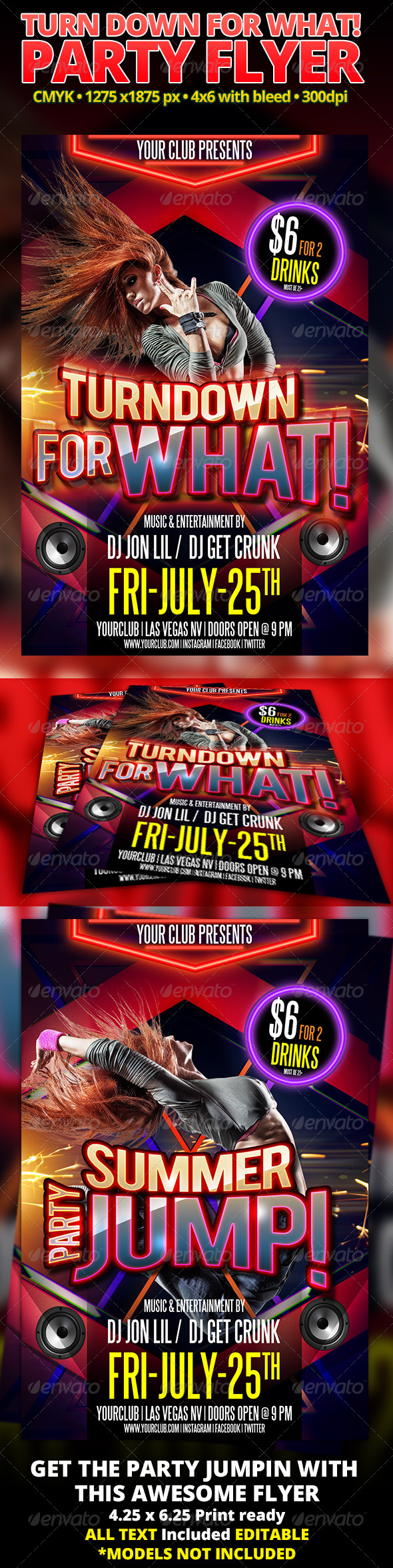 GraphicRiver Turn Down For What Party Flyer 7844258